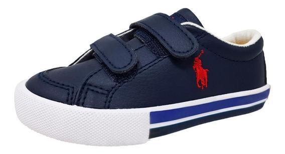 Tenis Polo Ralph Lauren Para Niño Tipo Piel Velcro Azul M