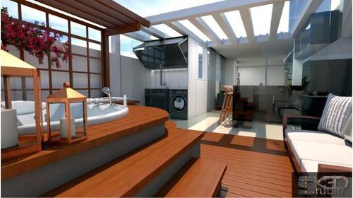 Cobertura Com 3 Dormitórios(01 Suíte ) 02 Vagas De Garagem À Venda, 146 M² Por R$ 615.000 - Vila Pires - Santo André/sp - Co0330
