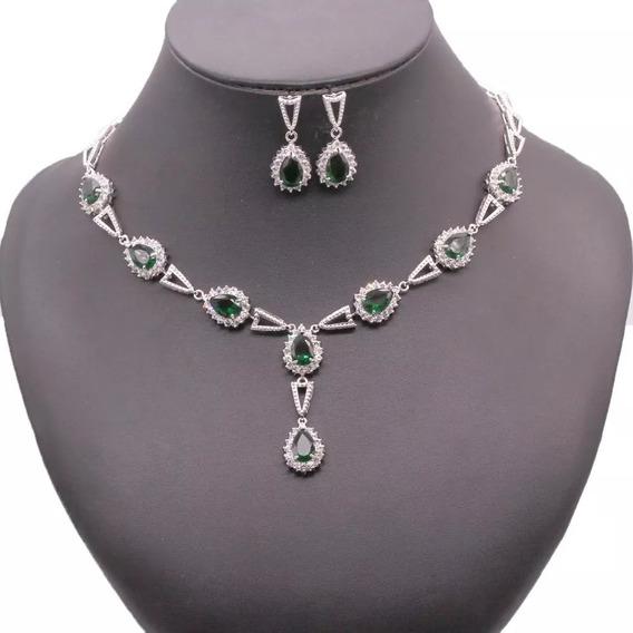Colar Brinco Pulseira Pedra Luxo Verde Esmeralda Ametista