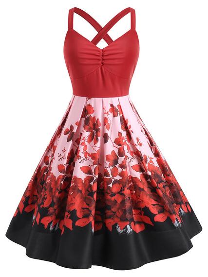 Vestido De Fiesta Impreso Tamaño Adicional Para La Señora