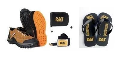 Kit Tenis Caterpillar Em Couro + Chinelo Cat + Brindes