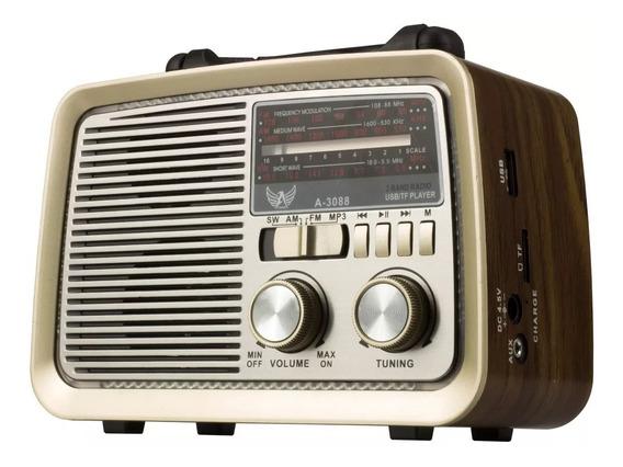 Rádio Retro Vintage Am Fm Sw Usb Recarregavel A3088 Marrom