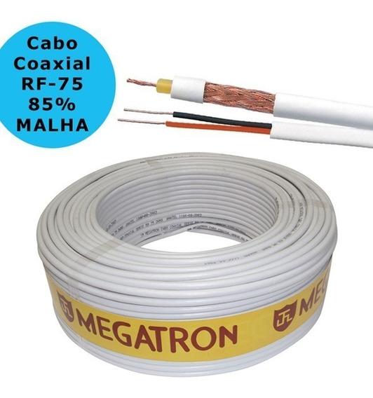200 Metros Cabo Coaxial 4mm Camera Cftv Bipolar 85% Malha