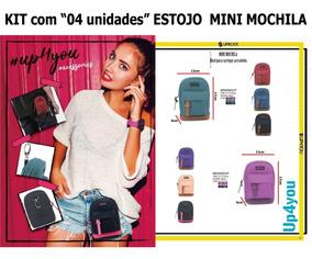 Kit Com 04 Unidades Estojo Escolar Mini Mochila