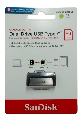 Pendrive Sandisk 64 Ultra Dual Drive 64gb Usb 3.0 Tipo A Y C