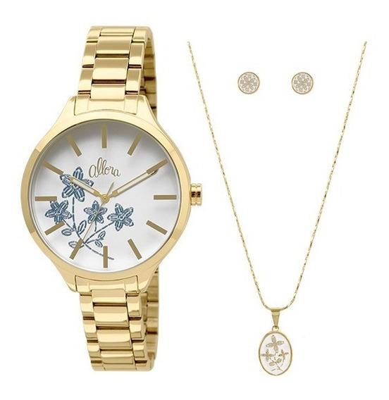 Kit Relógio Allora Feminino Bordados Al2036cgk4b