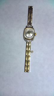 Reloj Silvana Con Brillantes Y Enchape De 20 Micrones Oro
