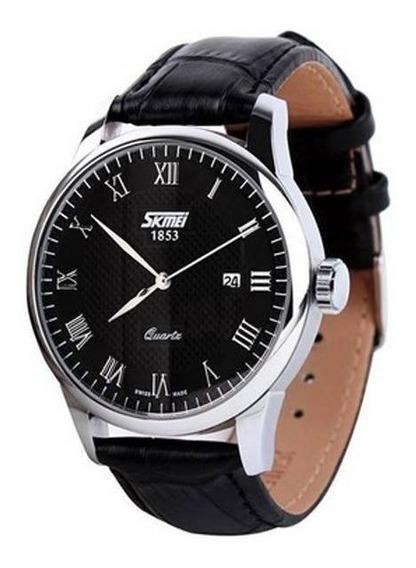 Relógio Masculino Skmei Analógico 9058 Preto/prata C/nota