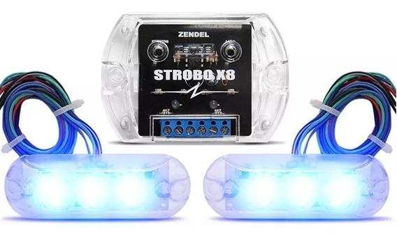 Kit Strobo Zendel X8 Azul C/ 2 Faróis Leds + Central Efeitos