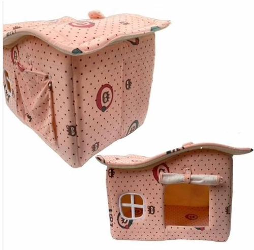Casinha Cachorro Pequeno Casa Toca Cama Pet Luxo Rosa Poá