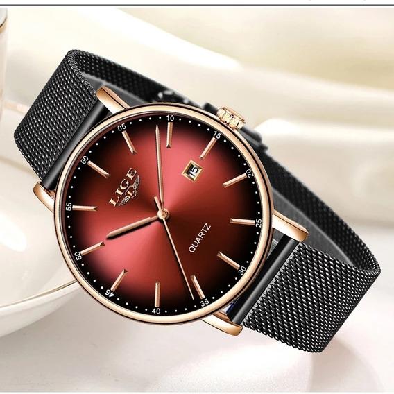Relógio Lige Feminino Pulseira De Aço Inoxidável Na Caixa