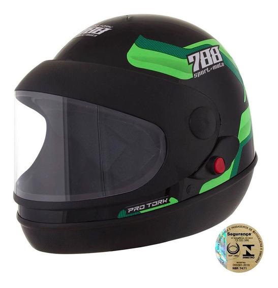 Capacete Sport Moto 788 Preto E Verde Tamanho 60 Cap-496vd