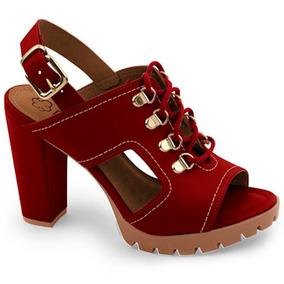 Sandália Vermelha Meia Pata Bebecê Tratorada Original