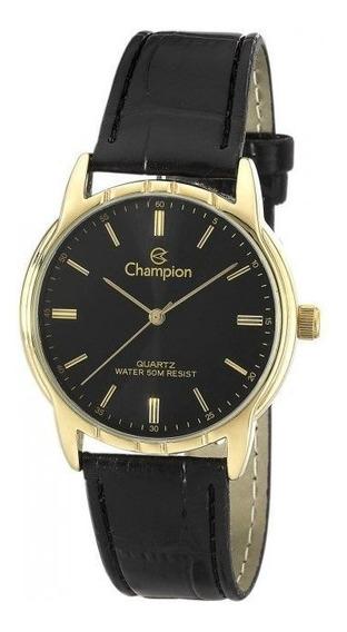 Relógio Masculino Dourado Com Pulseira De Couro Champion