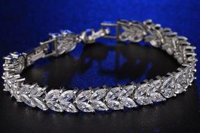 Pulseira Bracelete Prata Com Zircônia Noiva Debutante Luxo