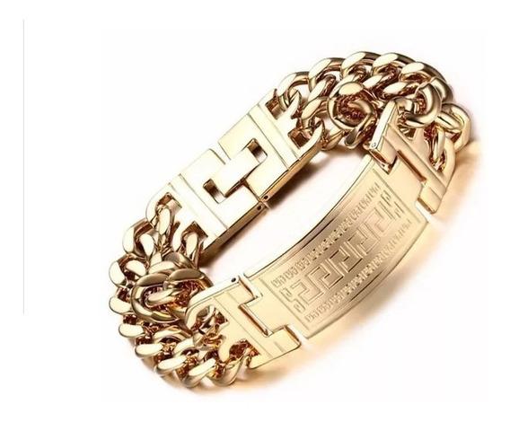 Bracelete Pulseira Masculina Grossa Ouro 18k Banho Dourada