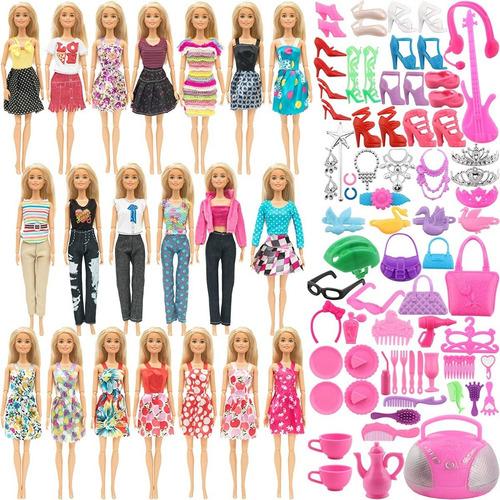 Sotogo Juego Ropa Muñecas Barbie Original 106 Pzas Incluye