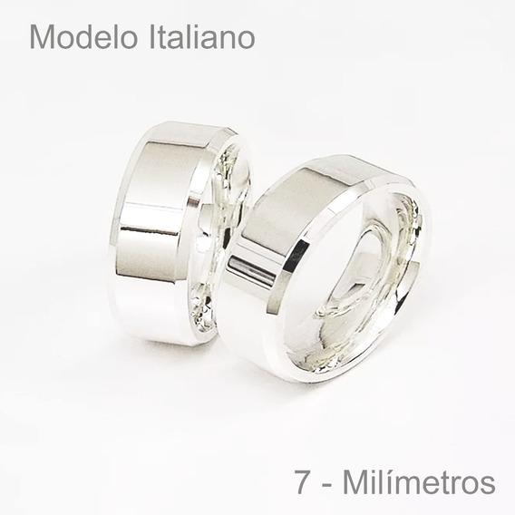 Par De Aliança De Prata Compromisso, Namoro, Modelo Italiano