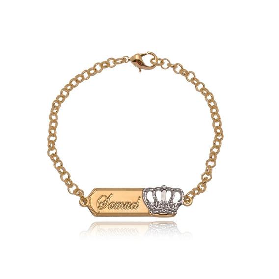 Pulseira Infantil Personalizada Com Nome E Detalhe De Coroa Banhado Em Ouro 18k