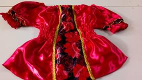 Bata Com Rosas - Vermelha C/preta Cetim Pomba Gira