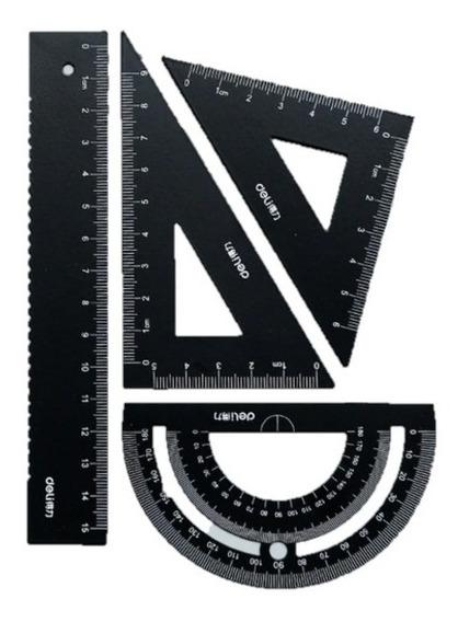 Set Geometria Regla 15 Cms Escuadra Transportador Metal