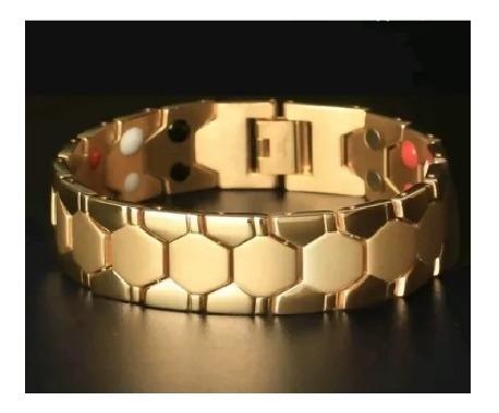 Pulseira Masculino Bracelete Aço Titânio + Ouro 18k Homens