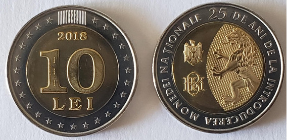 Moldávia 10 Lei 2018 Fc Bimetal Comemorativa Moeda Nacional