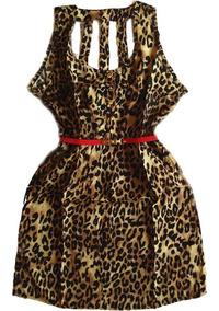 Vestido Viscose Casual Estampa Leopardo Detalhes Nas Costas