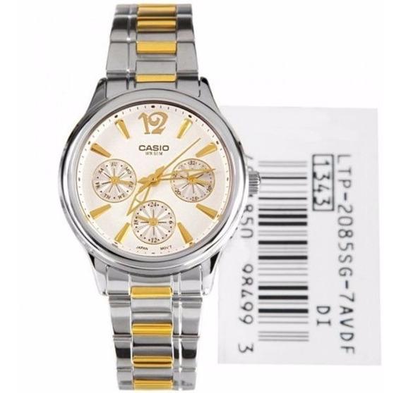 Reloj Casio Ltp 2085sg 7a P/ Dama/correa Acero