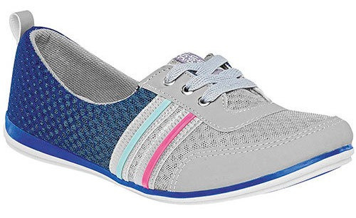 Zapato Ballerina Casual Gris Sintético Rayas Mujer 47184 Udt