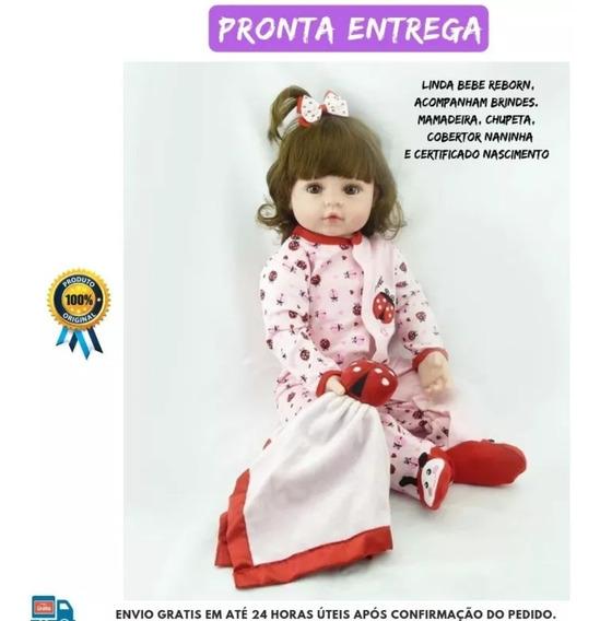 Boneca Bebê Reborn 60cm + Brinde Pronta Entrega