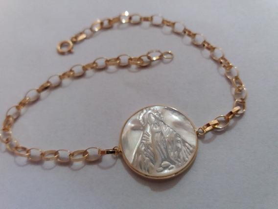 Pulseira Portuguesa Ouro18k Medalha Nossa Senhora Das Graças
