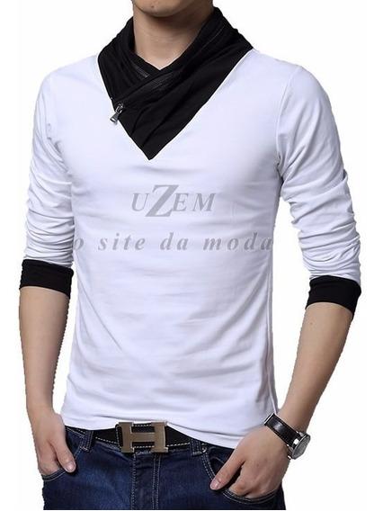 Blusa Masculina Manga Longa Camiseta Manga Comprida Frio Zíper