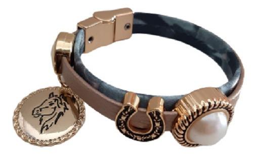 Pulseira Bracelete Flor Lis Semi Joia Cavalo Ferradura 43