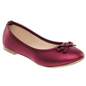 Zapato De Piso Flats Dama Sexy Girl 3005 Vino 22-26 87872 T3