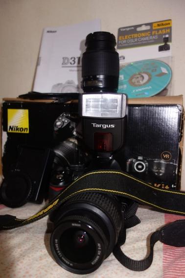 Nikon D3100+flash Targus+lentes 18-55 E 55-200mm Menos De 5k