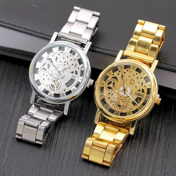 Reloj De Acero Inoxidable Esqueleto Para Hombre Pulsera Para Caballero Elegante Moderno Nuevo