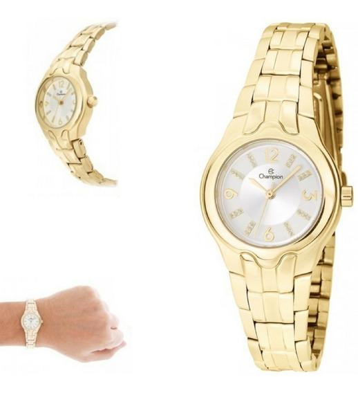 Relógio Champion Feminino Pequeno Dourado P/ D