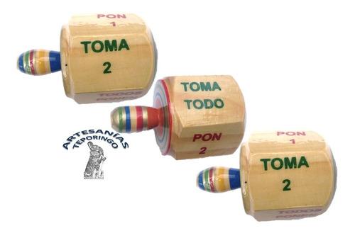 3 Piezas  Pirinola  Tomatodo De Madera