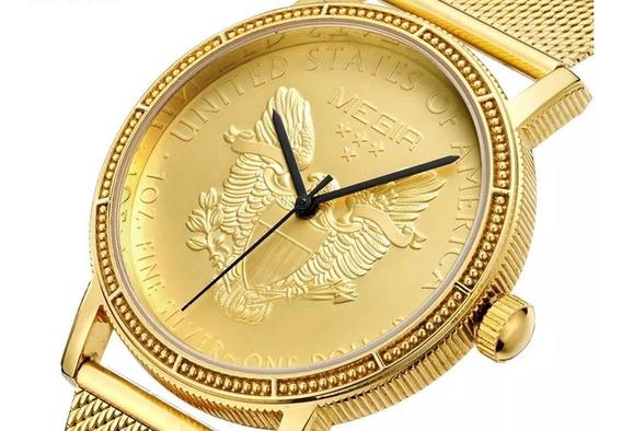 Relógio Masculino Megir 2032 Original Quartzo Dourado