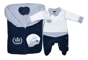 Saída Maternidade Menino Inverno Plush Imperial - 04peças