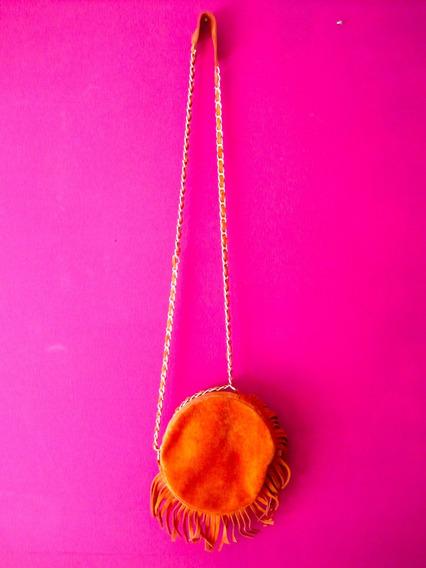 Cartera Naranja Gamuza Con Flecos Y Cadena