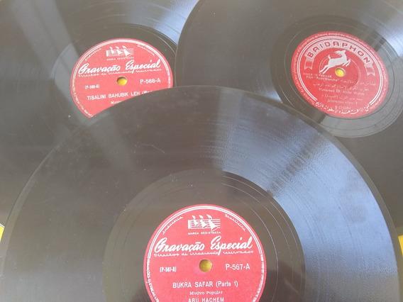Música Árabe 3 Discos 78 Rpm Raros Caixa De Madeira Grátis