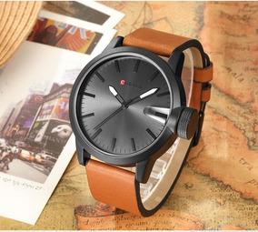 Relógio Masculino Curren 8208 Pulseira E Couro Caixa Preta