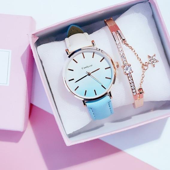 Reloj Degradado Azul Cielo-beige Extensible Piel Sintética