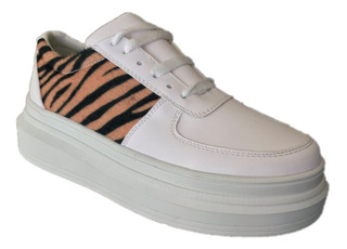 Tenis Sneakers Moda Mujer Casual Animal Print Color Blanco
