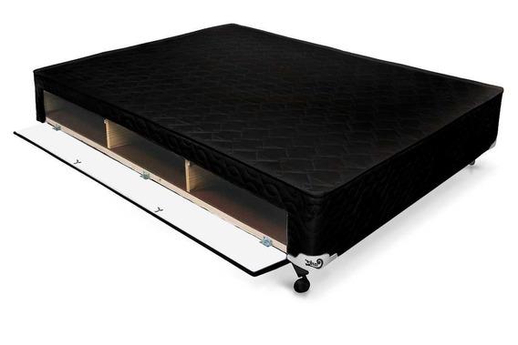 Cama Box Base Castor Closet Poli Tecido Black King - 1,93x2,