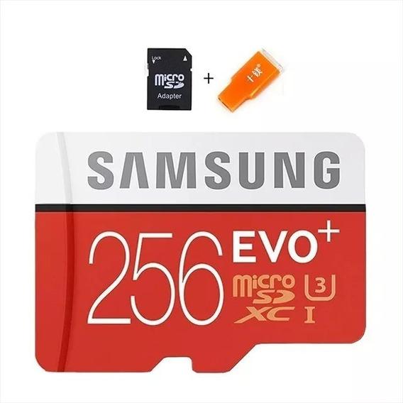 Cartão De Memória 256 Gb Micro Sd Samsung + Usb + Adaptador