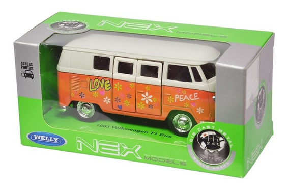 Kit 04 Miniatura Carro 2 Kombi + 2 Fusca 1:34 - Welly
