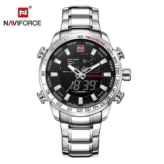 Relógio Masculino Naviforce Nf9093sbw Militar Racer Prata